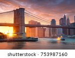 famous brooklyn bridge in new... | Shutterstock . vector #753987160