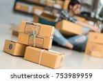 young entrepreneur  teenager... | Shutterstock . vector #753989959