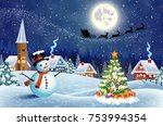 a house in a snowy christmas... | Shutterstock .eps vector #753994354