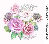 beautiful roses bouquet... | Shutterstock . vector #753994828