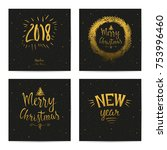 merry christmas and happy new... | Shutterstock .eps vector #753996460