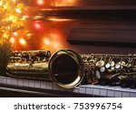 close up of alto saxophone  on... | Shutterstock . vector #753996754