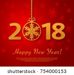 happy new year 2018 design with ... | Shutterstock .eps vector #754000153