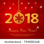 happy new year 2018 design with ... | Shutterstock .eps vector #754000168
