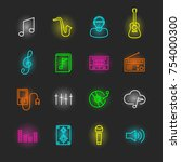 music neon icon set  vector... | Shutterstock .eps vector #754000300