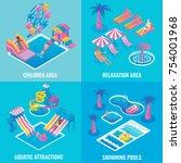 water park vector flat... | Shutterstock .eps vector #754001968