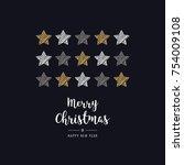 christmas stars card scribble... | Shutterstock .eps vector #754009108