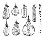 hand drawn vector set of... | Shutterstock .eps vector #754009186