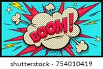 Stock vector boom pop art cloud bubble funny speech bubble trendy colorful retro vintage background in pop art 754010419