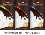 chocolate bar packaging set.... | Shutterstock .eps vector #754011514