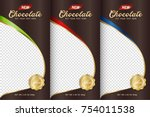 chocolate bar packaging set.... | Shutterstock .eps vector #754011538