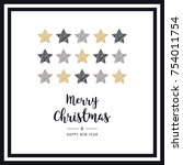 christmas scribble drawing... | Shutterstock .eps vector #754011754