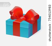 vector gift in 3d style. blue...