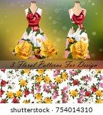 trendy fashion rose design. 3... | Shutterstock .eps vector #754014310