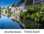the ill river in petite france... | Shutterstock . vector #754015264