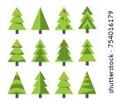 set of trees. vector... | Shutterstock .eps vector #754016179