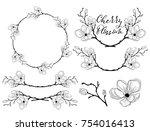 hand drawn cherry blossom... | Shutterstock .eps vector #754016413