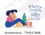 template greeting card with... | Shutterstock .eps vector #754017868