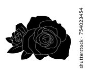 black silhouette roses and...   Shutterstock .eps vector #754023454