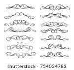 set of decorative elements.... | Shutterstock .eps vector #754024783