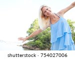 portrait of beautiful fun... | Shutterstock . vector #754027006