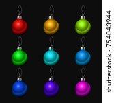 christmas tree decorations... | Shutterstock .eps vector #754043944