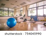 exercise blue color ball in... | Shutterstock . vector #754045990