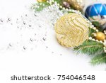 christmas decoration with gold... | Shutterstock . vector #754046548
