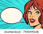 kitsch pop art woman face.... | Shutterstock .eps vector #754049638
