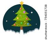 christmas tree rocket flat... | Shutterstock .eps vector #754051738
