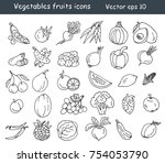 vegetables fruits icons set.... | Shutterstock .eps vector #754053790
