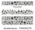 seamless snowflake border... | Shutterstock .eps vector #754054270