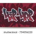 hip hop tag graffiti style...   Shutterstock .eps vector #754056220
