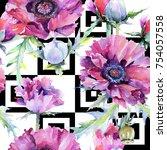 wildflower poppy flower pattern ... | Shutterstock . vector #754057558