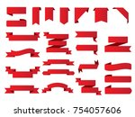 ribbon banner set.vector red... | Shutterstock .eps vector #754057606