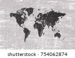 grunge world map.old map of the ... | Shutterstock .eps vector #754062874