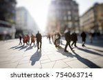 crowd of anonymous people... | Shutterstock . vector #754063714