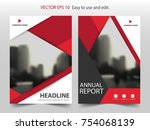 red abstract triangle  brochure ... | Shutterstock .eps vector #754068139