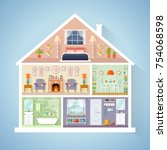 vector house model in a cut.... | Shutterstock .eps vector #754068598