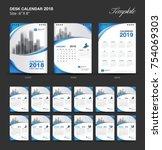 set desk calendar 2018 template ... | Shutterstock .eps vector #754069303