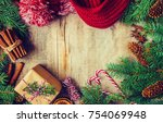 christmas background. selective ... | Shutterstock . vector #754069948