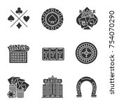 casino glyph icons set. cards... | Shutterstock .eps vector #754070290