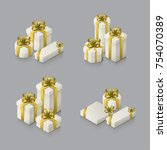 set of gift boxes with bows and ...   Shutterstock .eps vector #754070389