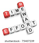 Time Effort Reward crossword on white background 3d render - stock photo
