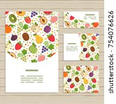 set of cards on fruits theme.... | Shutterstock .eps vector #754076626