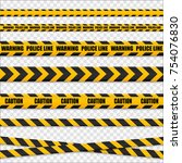 caution lines isolated. warning ... | Shutterstock .eps vector #754076830