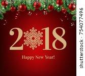 2018 happy new year postcard | Shutterstock . vector #754077496
