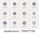 linear ornamental logo... | Shutterstock .eps vector #754077736