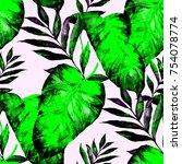 watercolor seamless pattern... | Shutterstock . vector #754078774