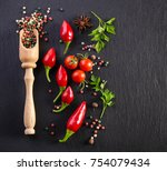 different spises on a black...   Shutterstock . vector #754079434